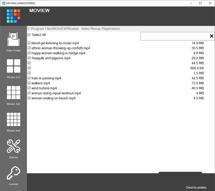 Moview Video Mosaic Player windows