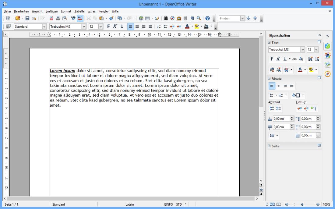 OPEN OFFICE WRITER 4.1.1
