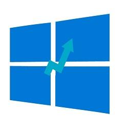 Upgrade to windows 10- arrow up in windows logo