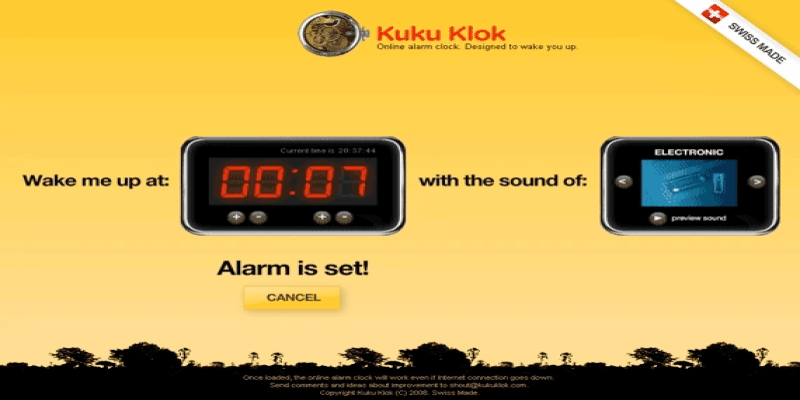 KukuKlok online alarm clock