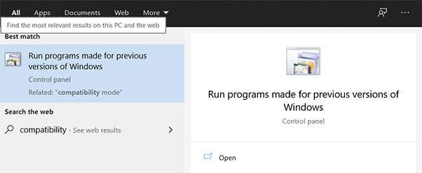 Run Programs made for earlier versions of Windows