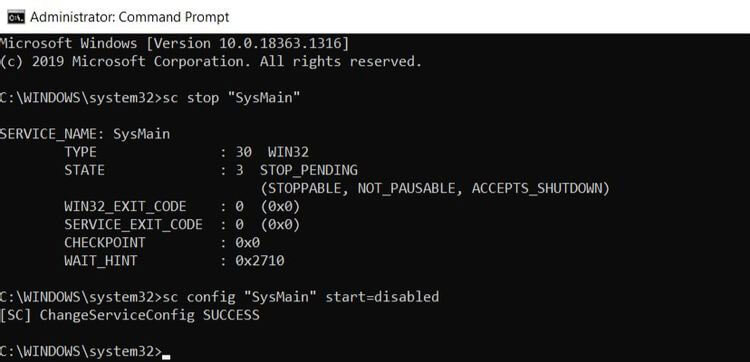 Stop SysMain Using the Command Prompt on Windows 10