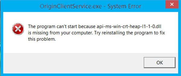 api-ms-win-crt-heap-l1-1-0.dll missing download For Windows 64-bit