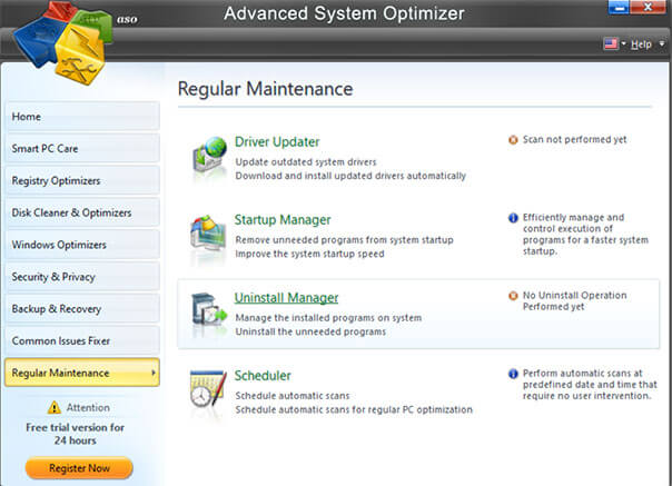 manage startup programs using advanced system optimizer