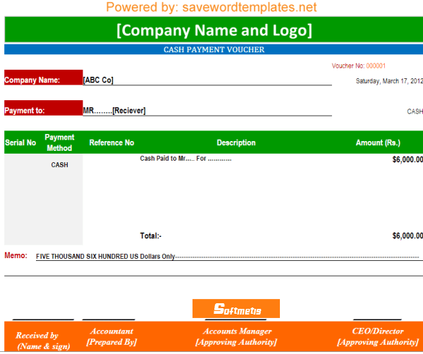 Cash Voucher Template Excel payment voucher template soft – Example of Petty Cash Voucher