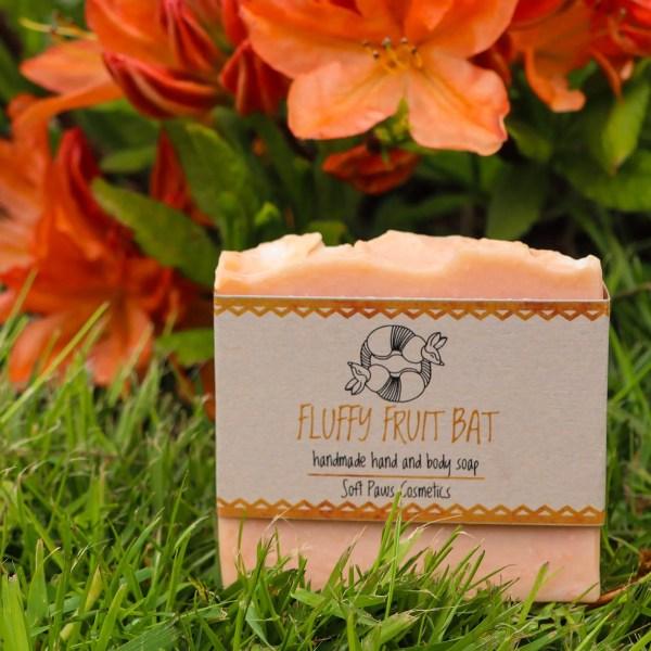 fluffy fruit bat - handmade soap - mango, papaya, grapefruit