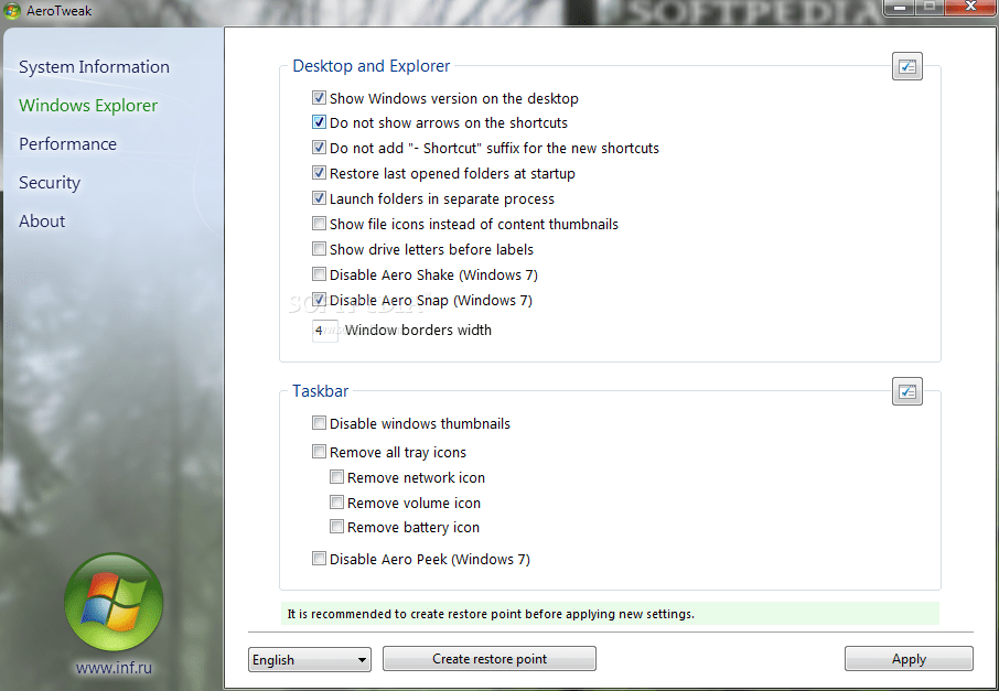 AeroTweak screenshot 1 - Windows Explorer tab window of AeroTweak lets you change the Desktop and Explorer and Taskbar parameters