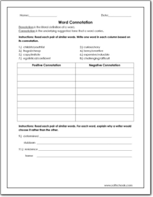 Word Connotation Worksheet