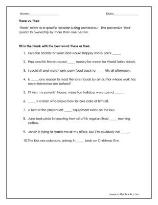 There Vs Their Worksheet Worksheet
