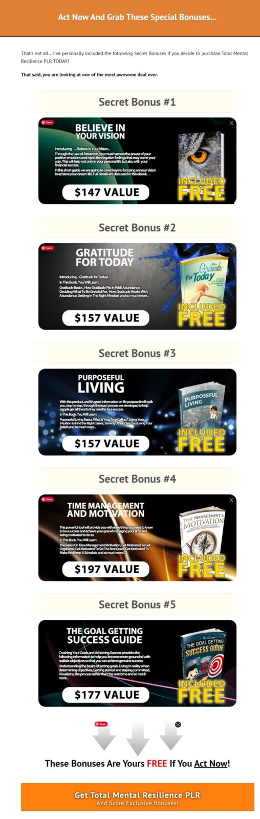 After making your purchase of TOTAL MENTAL RESILIENCE, the bonuses will be instantly available in your Customer Portal. It is that simple! Just be doubly sure that you purchase through my recommendation link to qualify for this bonus bundle.