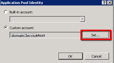 IIS Manager > App Pool > Advanced Settings > Set Button
