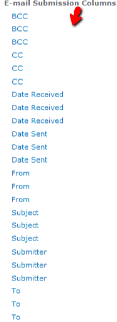 SharePoint Site Columns - Duplicate E-mail Submission Columns