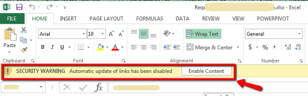 MS Excel Container File that has linked files