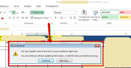 MS Excel Container File Warning - Linked file not Reachable