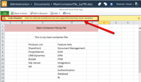 MS Excel Container File Opened in Office Web Apps in SharePoint - Linked file not supported