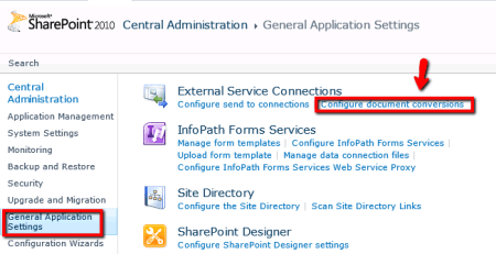 SharePoint - Configure Document Conversions link