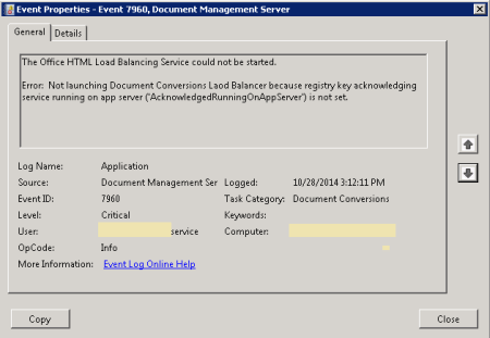 SharePoint Document Conversion Error - Event ID 7960