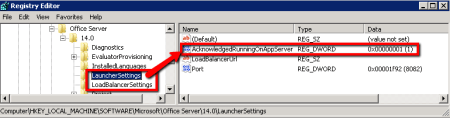 SharePoint Document Conversion Launcher Settings - AcknowledgedRunningOnAppServer Key