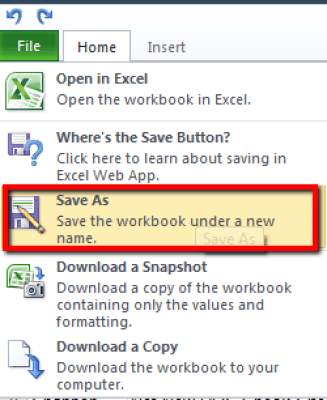 Excel Web Services - Save As option
