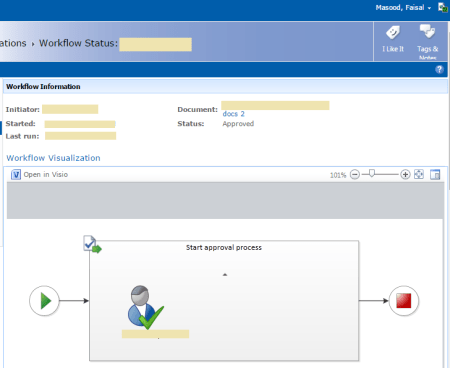 SharePoint Visio Graphics Services - Workflow Visualization Showing Process in Visio