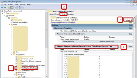 Active Directory - Group Policy Management Console - Settings