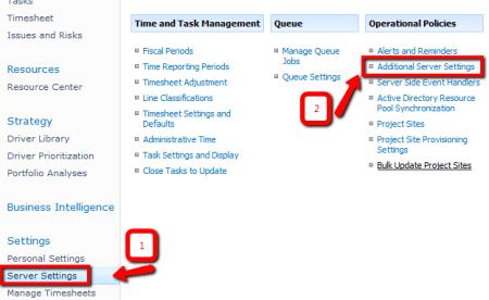 Microsoft Project Web Access (PWA) > Server Settings > Additional Server Settings link
