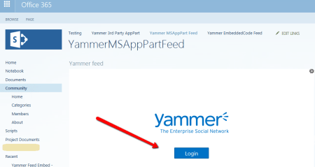 Yammer Feed Integration keeps displaying Yammer login on SharePoint online page even after login