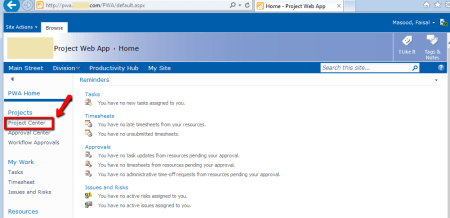 MS Project Web Access (PWA) - Project Center Link