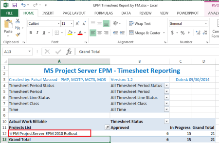 Project Web Access - BI Center Excel Report - EPM Timesheet Report before project renamed