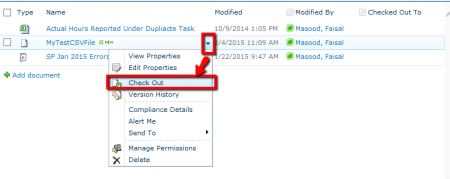 SharePoint - Check Out CSV File - Notice Edit in Excel not an Option in menu - Default behavior