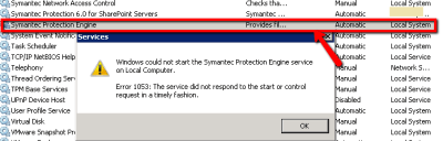 SharePoint Server - Symantec Protection engine service stopped and failed to start with error 1053