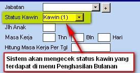 Status Kawin Pegawai ( Kawin = 1, Tidak Kawin = 2 )