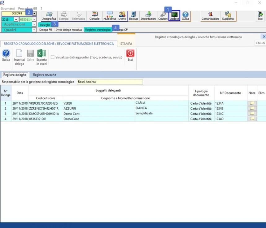 Deleghe FE: Registro cronologico - 1