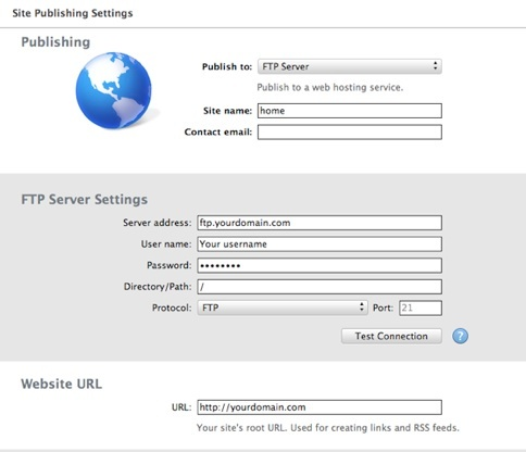 Publish iWeb site to FTP server
