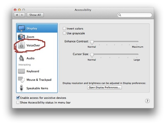 Enable Disable VoiceOver on OS X 10.8 Mountain Lion