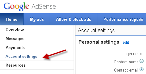 adsense account settings