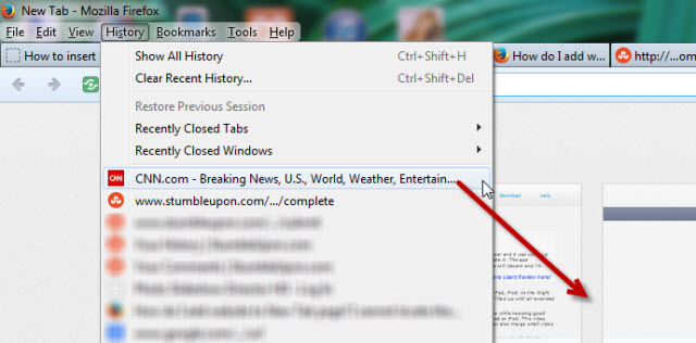 add website to new tab page firefox
