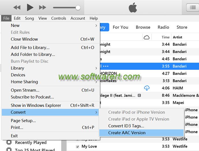 convert music create aac version in itunes 12.7 on pc