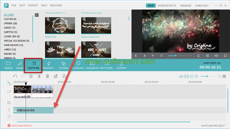 add text, credit, watermark to video in filmora for pc