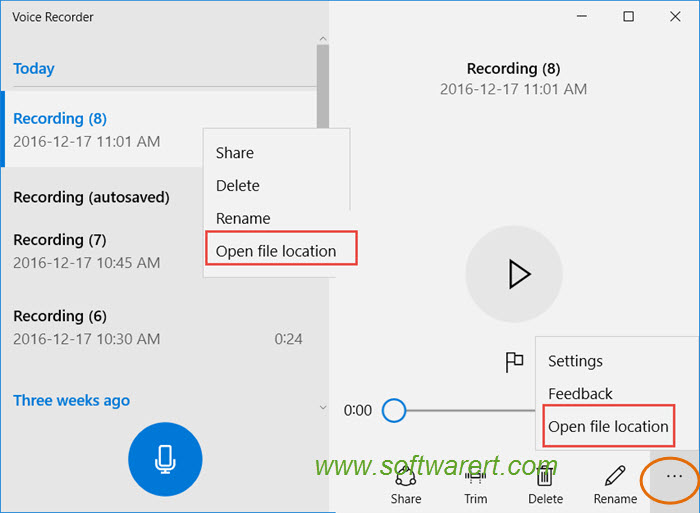 Where are voice recordings saved in Windows 10?
