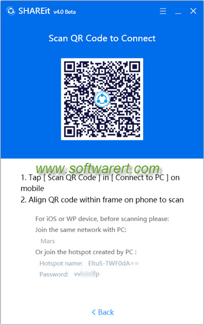 scan qr code to connect in shareit for pc