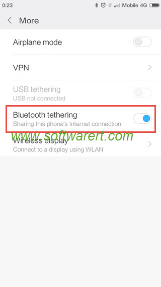 turn on bluetooth tethering on xiaom & redmi mobile phone with miui 8