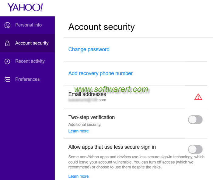 yahoo mail account security settings desktop version for pc