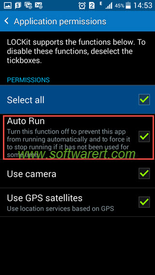 Allow app auto run on Samsung mobile phone