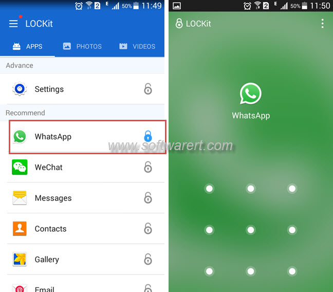 password protect whatsapp chat history on android phone using lockit free security app