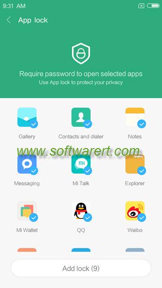 xiaomi redmi app lock to add lock to apps