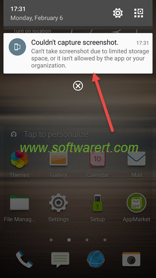 htc mobile phone Can't take screenshot due to limited storage space, or it isn't allowed by the app or your organization