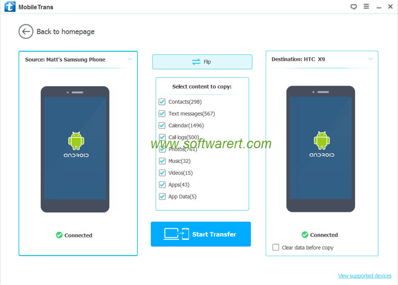 Transfer data from Samsung to HTC mobile phone using mobile transfer