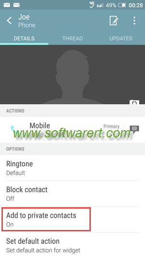add private contacts on htc mobile phone