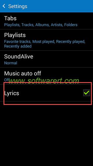 Display lyrics on Samsung Galaxy Grand Prime